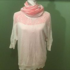 White-cream cover up sweater. Lightweight, cover up sweater, beautiful, looks great with a scarf. Year around sweater! Organic cotton.  Shown with coral shirt and scarf - sold separately. Good bundle! Aventura Sweaters Crew & Scoop Necks