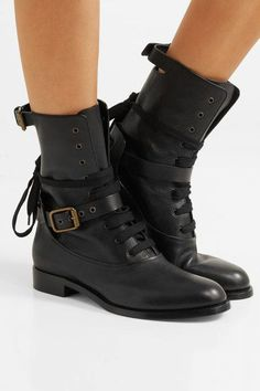 Heel measures approximately 20mm/ 1 inch Black leather Lace-up front Made in ItalyAs seen in The EDIT magazine