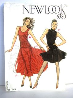 New Look 6380 Two Piece Dress Sewing Pattern Size 8 10 12 14 16 18, Ballroom Tango Dress Pattern Full Skirt, High or Scoop Neck Knits UNCUT