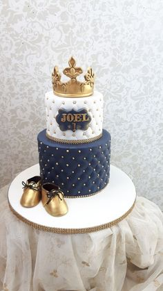 Prinse Joel one birthday cakes - cake by Nebibe Nelly Pretty Cakes, Cute Cakes, Beautiful Cakes, Boys 1st Birthday Cake, Prince Birthday, Prince Cake, Royal Cakes, Cupcakes Decorados, Baby Shower Cakes For Boys