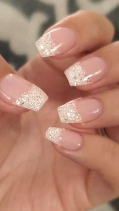 Chic Nails, Classy Nails, Stylish Nails, Elegant Nails, Acrylic Nails Coffin Short, Best Acrylic Nails, Pink Nails, Glitter Gel Nails, Nails With Glitter Tips