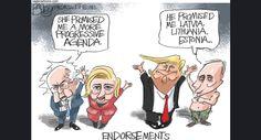 Trump and Clinton Endorsements   Pat Bagley - Salt Lake Tribune