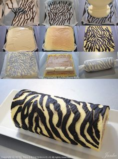 How to make a Zebra Cake Roll - Tutorial (use Google Translate) Wouldn't want to put banana in it, but I'm sure there are good alternatives...