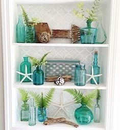 Coastal Shelf Decor Styling Idea With Gl Vases Featured On Completely Aquatic