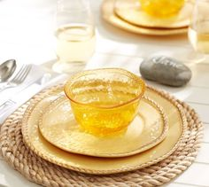 Rope Outdoor Dinnerware, Yellow | Pottery Barn
