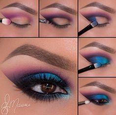 Bright eye makeup look