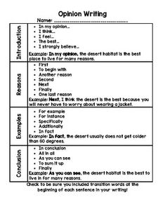 This includes a generic opinion writing graphic organizer, a poster with transition words, and final draft writing paper. Opinion Writing Prompts, Essay Writing Skills, English Writing Skills, Paragraph Writing, Informational Writing, Persuasive Writing, Writing Lessons, Teaching Writing, Writing Rubrics