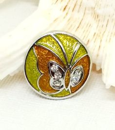 Butterfly Charm Butterfly Snap Button Yellow by SnazzySnapsJewelry