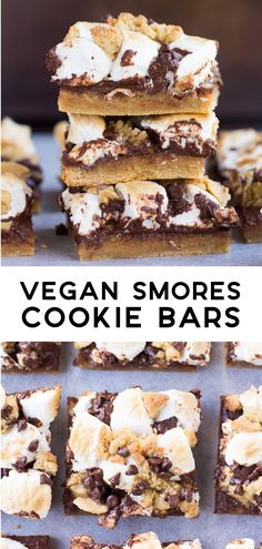Vegan Smores Cookie Bars feature a golden cookie crust, loads of chocolate and a marshmallow topping of course! #vegan #plantbased #dessert