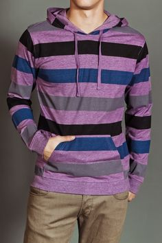 Purple shirt with stripes. Gothic Jackets, Wearing Purple, Jack Threads, Men's Wardrobe, Mens Clothing Styles, Swagg, Passion For Fashion, Street Wear, Men Sweater