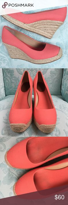 "J.Crew Pink Sevilla Espadrille Wedges J. Crew Seville espadrille wedges in bright pink/coral color. 4"" heel, great bold color! Worn once, in great condition. Light mark on inside heel of left shoe, see photos. Size 8, TTS. J. Crew Shoes Espadrilles"