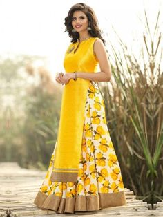 New Zeel Fashion Bhagalpuri Silk Yellow Floral Print Semi Stitched Lehenga Style Suit #Lehenga #Yellow #Floral #Semi-Stitched