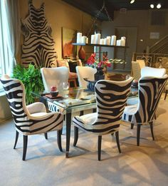 Denmark 01-512 Side chairs and 01-513 Arm chair with Zebra hair on hide