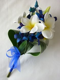 Blue Star Frangipani Stem artificial wedding bouquet