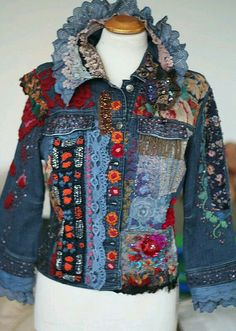 Recycled denim Time traveller-- colorful crazy bohemian denim jacket, textile art jacket with antique lace and hand embroideries, Jeans Recycling, Recycle Jeans, Denim Fashion, Boho Fashion, Abaya Mode, Mode Hippie, Denim Ideas, Altered Couture, Denim And Lace