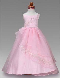 Ball Gown Bateau Floor-length Satin Flower Girl Dress
