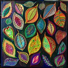 Joan Israel gives us a reminder to look around for surprise color in the leaves at this time of year. She mounts her own variety of polymer leaves onto a black canvas background for a dramatic effect. When we slow down and take the time to look [. Polymer Clay Kunst, Polymer Clay Projects, Polymer Clay Jewelry, Canvas Background, Bordados E Cia, Leaf Crafts, Painted Leaves, Leaf Art, Nature Crafts