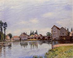 The Loing Flowing under the Moret Bridge via Alfred Sisley Medium: oil on canvas""
