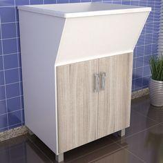 Se a área de serviço é pequena, aposte nos tanques com armário acoplado para deixar o ambiente ainda mais organizado.