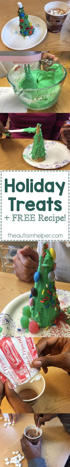 Christmas Cones & Hot Chocolate, the perfect holiday treats to help students work on sequencing skills & following directions in the most DELICIOUS way!! From theautismhelper.com #theautismhelper