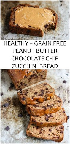 Grain free HEALTHY peanut butter zucchini bread w/ chocolate chips! Two options to make it: with coconut flour or protein powder! Lots of protein + fiber. No refined sweeteners, no butter and no oil! #grainfree