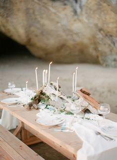 Driftwood table: http://www.stylemepretty.com/oregon-weddings/2015/05/05/oregon-coast-seaglass-wedding-inspiration/   Photography: Lexia Frank - http://www.lexiafrank.com/