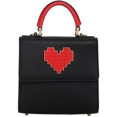 LES PETITS JOUEURS Mini Alex Lolita Heart Lego Leather Bag (51,665 MKD) ❤ liked on Polyvore featuring bags, handbags, shoulder bags, genuine leather handbags, miniature purse, heart handbag, real leather purses and genuine leather purse