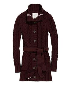 Look what I found on #zulily! Chocolate Cable-Knit Belted Cardigan #zulilyfinds