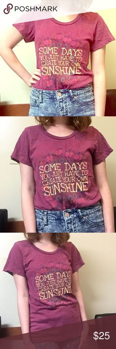 """Live Happy by Natural Life printed tee """"Some days you just have to create your own sunshine""""  Minor pilling from washes, still in very good condition. Make me an offer! Natural Life Tops Tees - Short Sleeve"""