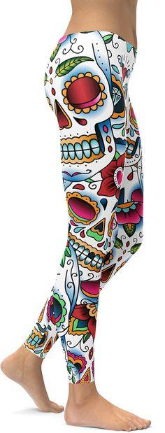 Colorful Dead – Sugar Skull Leggings – GearBunch Leggings / Yoga Pants – Outfit Inspiration & Ideas for All Occasions Skull Leggings, Best Leggings, Women's Leggings, Funky Leggings, Gothic Leggings, Sports Leggings, Tights, Workout Gear, Colorful Leggings