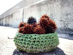 VERY COOL! Made from plastic bags! Oxidized Green Upcycled Basket by EatGreen