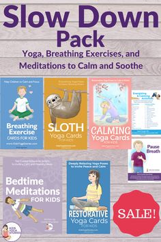 Make the time to slow down! When you're hustling to get everything done in a day, it's important to take the time to slow down with your children.This pack of 7 resources will help children relax, breathe, and be present in the moment. Calming Activities, Gross Motor Activities, Fun Activities For Kids, Preschool Activities, Mindfulness Activities, Kids Yoga Poses, Easy Yoga Poses, Yoga For Kids, Bedtime Meditation