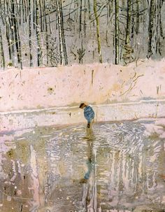 peter doig  wow I love this composition, the use of color, reflection, vertical dominate, gesture speaks loudly!!