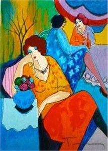 "artist tarkay itzchak | Itzchak Tarkay Hand Signed and Numbered Serigraph:""Quiet Afternoon ..."