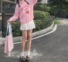 Mode Harajuku, Harajuku Fashion, Kawaii Fashion, Fashion Outfits, Emo Fashion, Aesthetic Sweaters, Aesthetic Clothes, Aesthetic Outfit, Cute Strawberry
