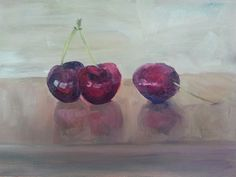 Delicious cherries today from the market in St. Girons in the south of France (painted in oil on gessoed museum board). Sweet! (original oil painting by Rebecca Stebbins).