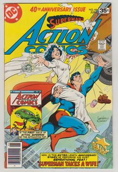 Action comics with the classic theme; the Superman and Lois Lane wedding day . This is a great day for both and for Superman fan's www. Dc Comic Books, Vintage Comic Books, Comic Book Artists, Comic Book Covers, Vintage Comics, Comic Book Characters, Comic Art, Vintage Art, Dc Comics