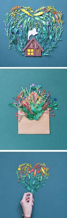 Paper art by Margaret Scrinkl // paper craft // cut paper art // rainbow art
