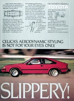 Toyota Celica, Liftback, GTS, MkIII, Phase 1, North American spec came with the largest 4 cylinder engine ever fitted into a Celica, 2366cc, Brochure 1983