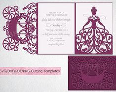 Princess Bride Trifold Wedding Invitation laser cut svg dxf kArtCreation Crafters Card Making Tri Fold Wedding Invitations, Laser Cut Invitation, Wedding Invitation Templates, Invitation Design, Invites, Cricut Invitations, Programing Software, Clipart, Paper Cutting
