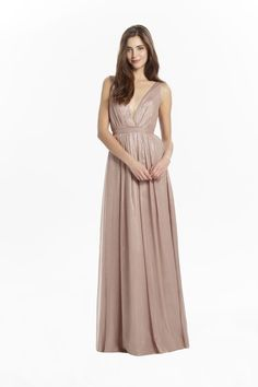 Metallic Chiffon V-Neck gown with low back. Banded waistband and flowy skirt.
