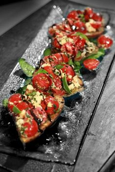 Recipe for Tomato, feta and pesto bruschetta from chef Yiannis Lucacos. Finger Food Appetizers, Finger Foods, Appetizer Recipes, Gourmet Recipes, New Recipes, Canapes, Greek Recipes, Caprese Salad, Bruschetta