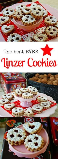 Authentic Linzer Cookies –  THE Austrian Christmas Cookie. In Germany and Austria there' s no Christmas without these cute jam-filled & sugar dusted Linzer Cookies! The cookie dough is enriched with ground hazelnuts and almonds and flavored with a mix of Christmas Spices.