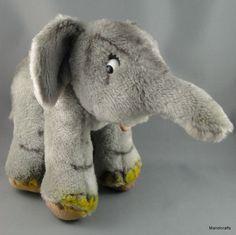 #Schuco Germany #Elephant Dralon Plush 20 cm no ID Lashes Standing 1960s Vintage