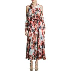 Haute Hippie Floral-Print Cold-Shoulder Gown ($475) ❤ liked on Polyvore featuring dresses, gowns, swan multi, floral evening gown, floral ball gown, chiffon evening dress, long sleeve floral dress and cold shoulder dress