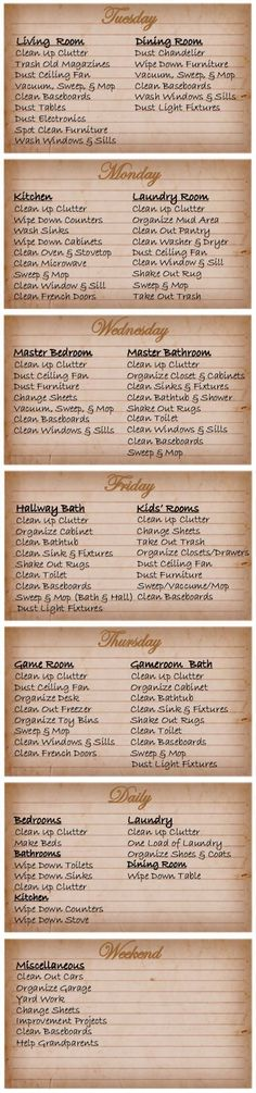 Printable Cleaning schedule for working moms