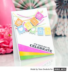 Create a fun and colorful card using the Papel Picado Banners stamp set and matching dies