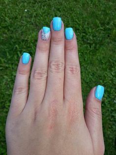summer pastel nails with silver glitter