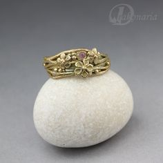 Twigs in pink - subtle organic ring with cubic zirconia. $97.00, via Etsy. By Anna Mazon