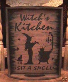 Primitives witches Witch's Kitchen Witch Tray Sign Black cats Halloween Witchcraft wiccan $40